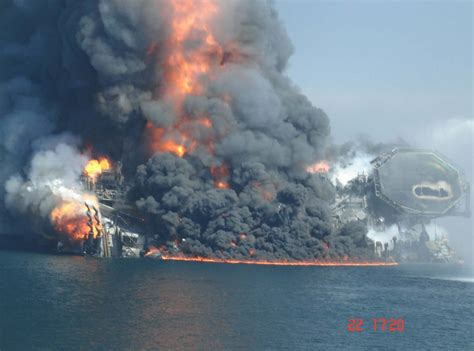 Deepwater Horizon Initial Fire and Sinking Photos and