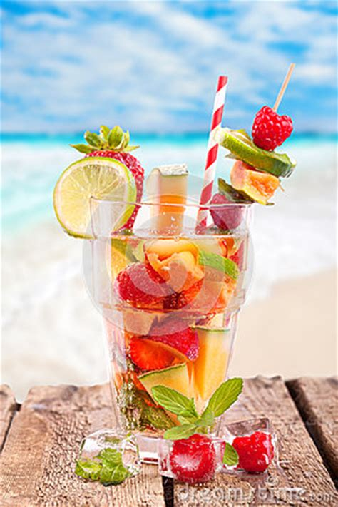 Fresh Fruit Cocktail At The Beach Stock Photo - Image