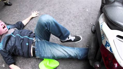 Motorcycle cops run over a man's leg @ #Occupy Wall Street