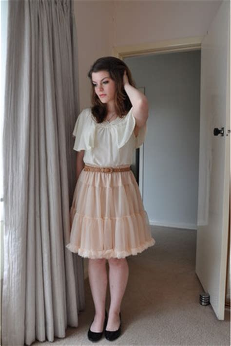 Light Pink Ruffled American Apparel Skirts, Off White